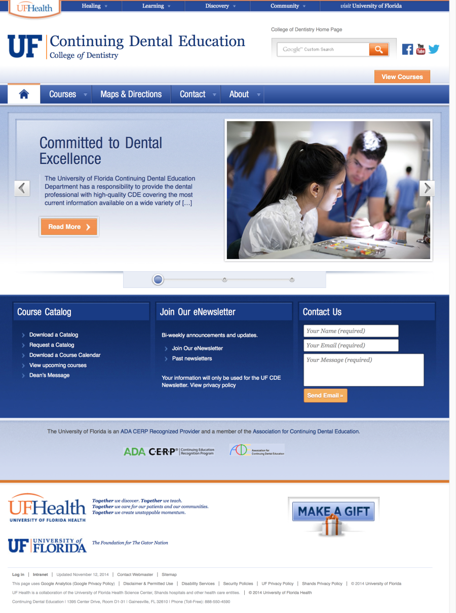 Continuing Dental Education » College of Dentistry » University of Florida